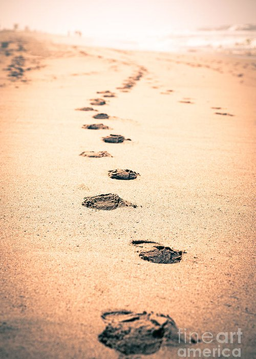 California Greeting Card featuring the photograph Footprints In Sand by Paul Velgos