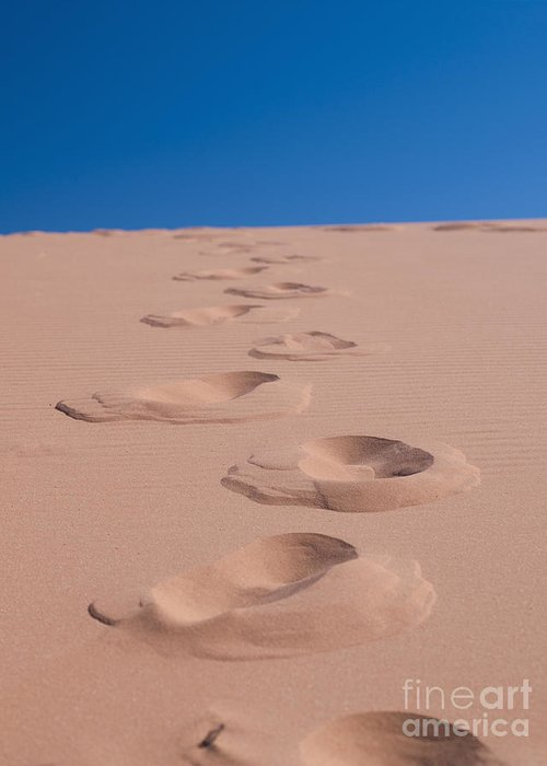 Arid Greeting Card featuring the photograph Footprints In The Sand by Dave & Les Jacobs