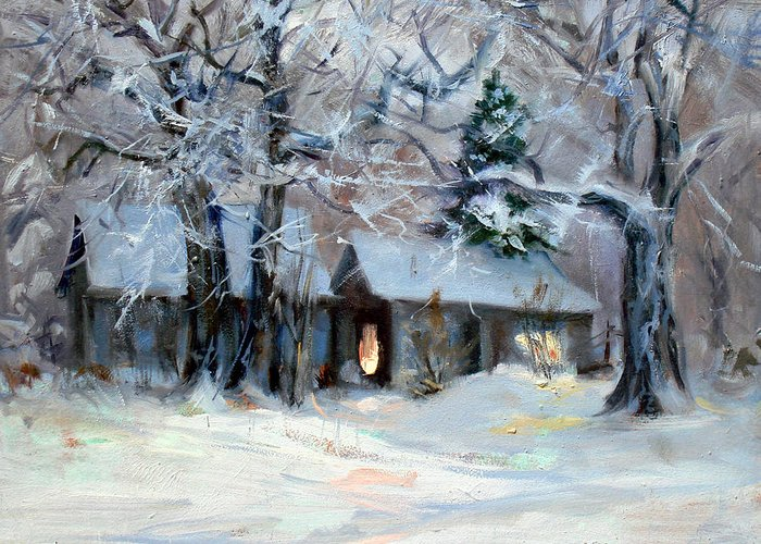 House Greeting Card featuring the painting Footsteps in the snow by Ed Slack