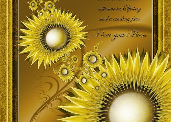 Flower Greeting Card featuring the digital art For Mom by Karla White
