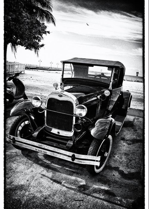 Ford Greeting Card featuring the photograph Ford Model T Film Noir by Bill Cannon