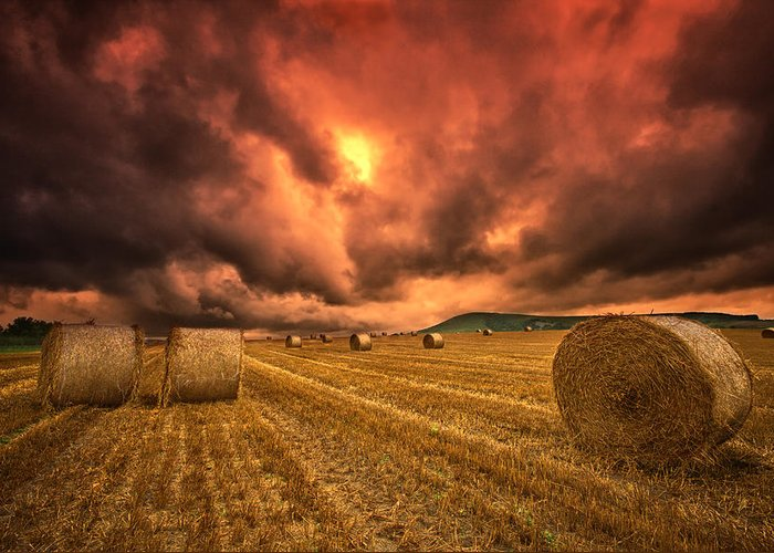 Hay Bales Greeting Card featuring the photograph Foreboding Sky by Mark Leader