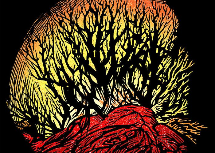Tree Greeting Card featuring the photograph Forest Fire, Lino Print by Gary Hincks
