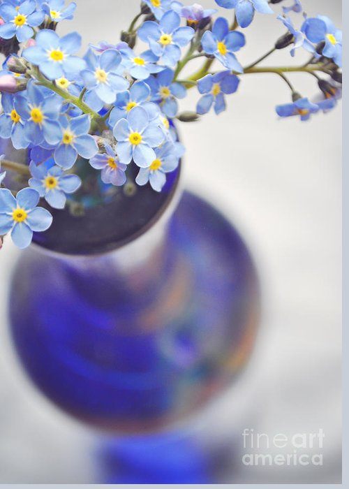 Forget Me Nots Greeting Card featuring the photograph Forget Me Nots In Deep Blue Vase by Lyn Randle