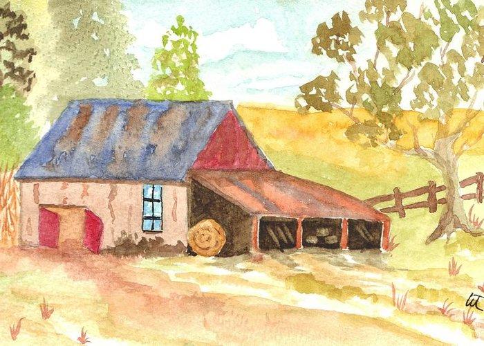 Forgotten Barn Postcard Greeting Card featuring the painting Forgotten Barn Postcard by Warren Thompson