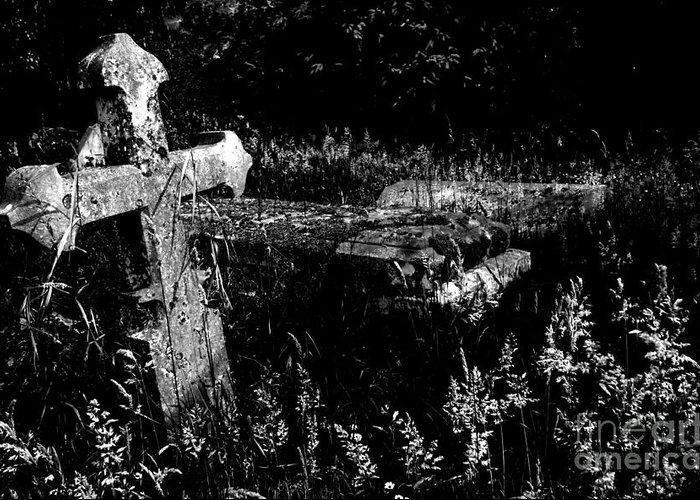 Gothic Greeting Card featuring the photograph Forgotten Headstones by Darren Burroughs
