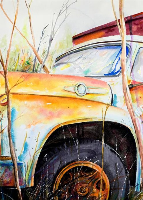Truck Greeting Card featuring the painting Forgotten Truck by Scott Nelson