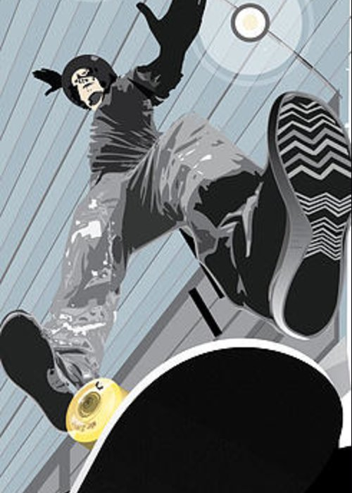 Skater Greeting Card featuring the mixed media Form by Jim Howard
