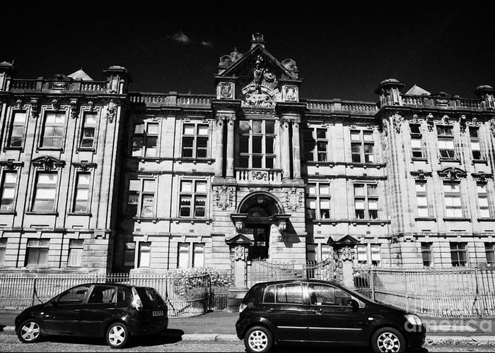 Former Greeting Card featuring the photograph Former Kilmarnock Technical School And Academy Building Now Academy Apartments Scotland Uk by Joe Fox