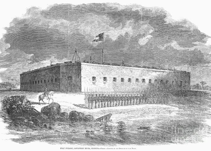 1861 Greeting Card featuring the photograph Fort Pulaski, Georgia, 1861 by Granger