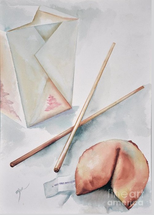 Fortune Cookie Greeting Card featuring the painting Fortune Cookie by Elizabeth York