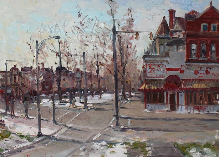 Elmwood Ave Greeting Card featuring the painting Four Corners At Bidwell Parkway by Ylli Haruni