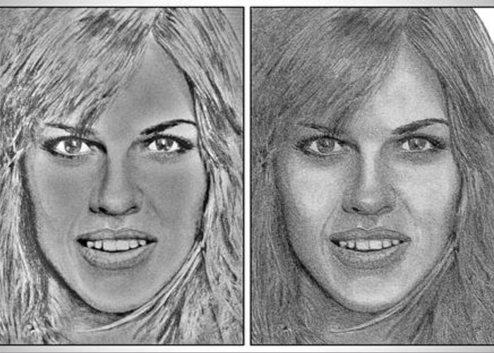 Hilary Swank Greeting Card featuring the digital art Four Interpretations Of Hilary Swank by J McCombie