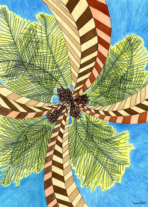 Palm Greeting Card featuring the drawing Four Palms by Lesa Weller