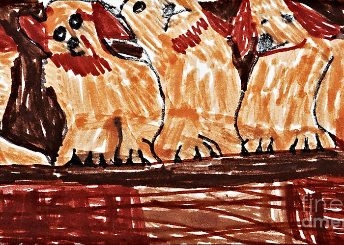 Puppies Greeting Card featuring the drawing Four Puppies In A Row by Stephanie Ward