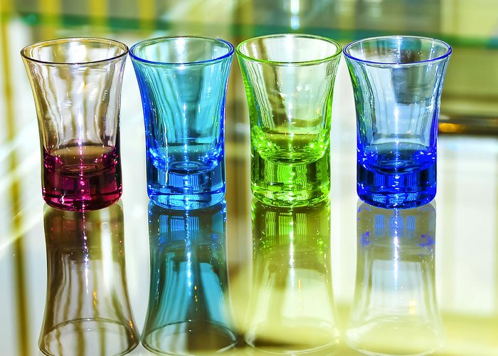 Advocate Greeting Card featuring the photograph Four Vodka Glasses by Svetlana Sewell