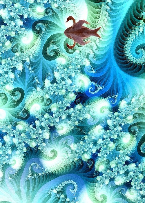 Abstract Greeting Card featuring the digital art Fractal And Swan by Odon Czintos
