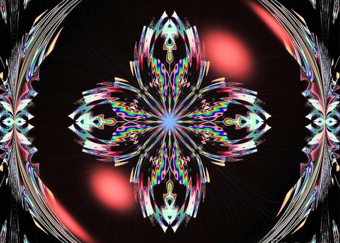 Fractal Illumination Greeting Card featuring the digital art Fractal Illumination by Maria Urso