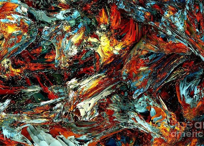 Fractal Art Greeting Card featuring the digital art Fractal - Internal Fire by Bernard MICHEL