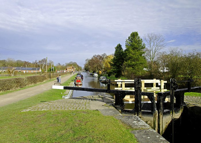 Staffordshire Greeting Card featuring the photograph Fradley Middle Lock No. 18 by Rod Johnson