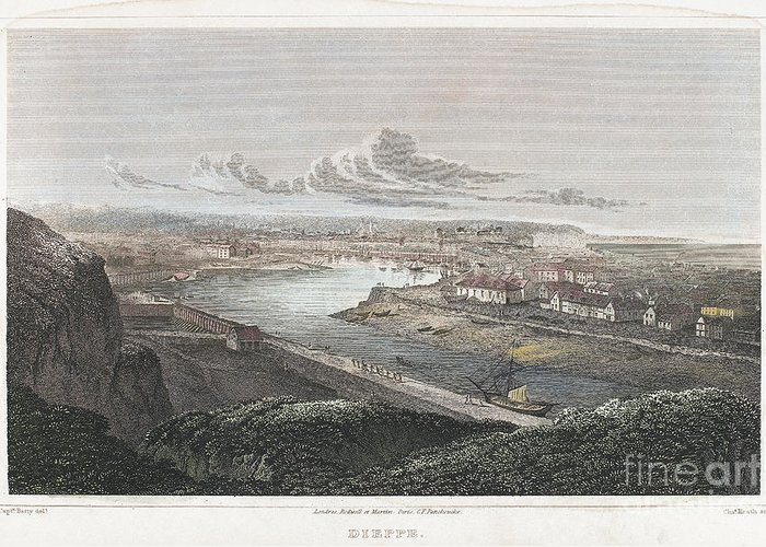 1822 Greeting Card featuring the photograph France: Dieppe, 1822 by Granger