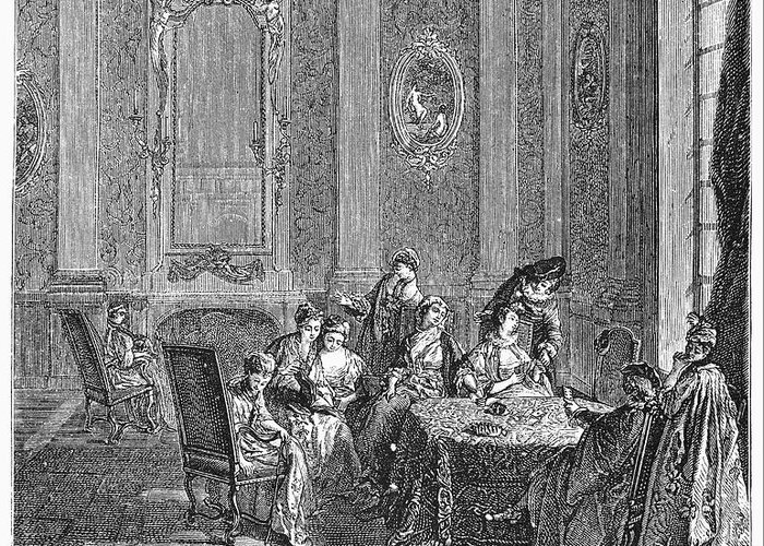 18th Century Greeting Card featuring the photograph France: Gambling, C1750 by Granger