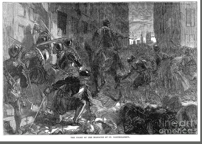 1572 Greeting Card featuring the photograph France: Massacre, 1572 by Granger