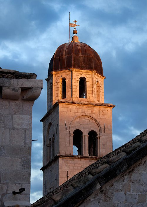Dubrovnik Greeting Card featuring the photograph Franciscan Monastery Tower At Sunset by Artur Bogacki