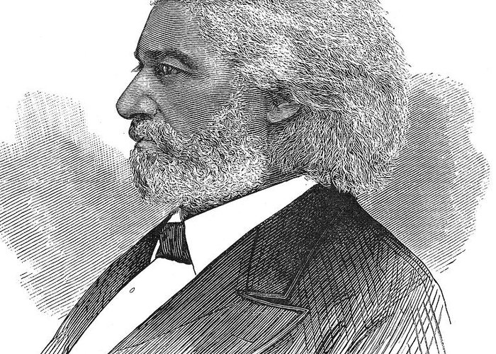 1877 Greeting Card featuring the photograph Frederick Douglass (c1817-1895). American Abolitionist. Wood Engraving, American, 1877 by Granger