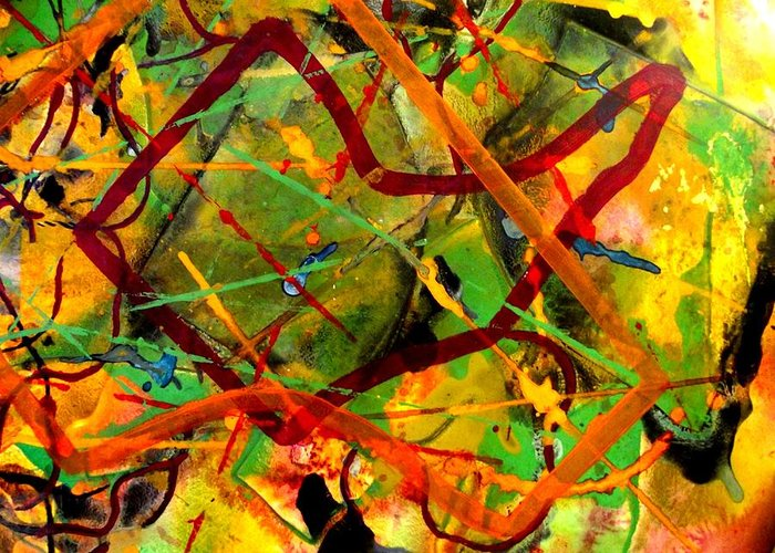 Abstract Greeting Card featuring the painting Free Fall by John Nolan