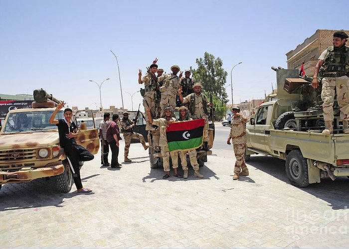 Ajadabiya Greeting Card featuring the photograph Free Libyan Army Troops Pose by Andrew Chittock