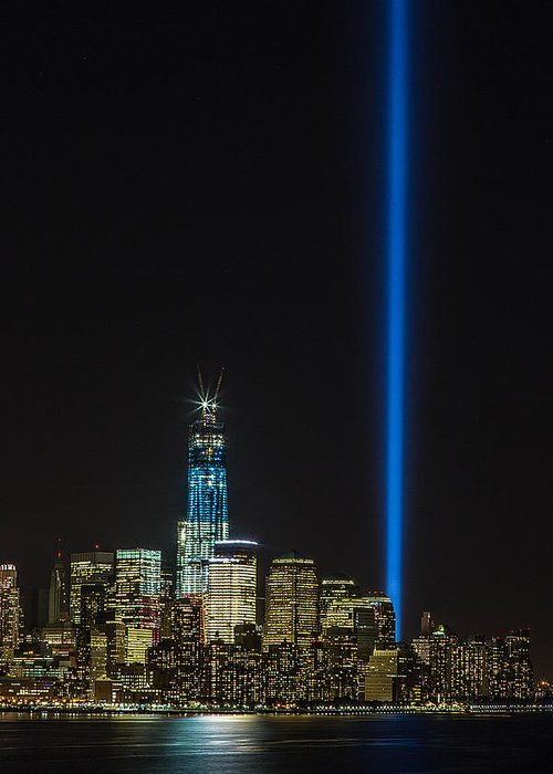9'11 Greeting Card featuring the photograph Freedom Tower And Tribute In Light by John Dryzga
