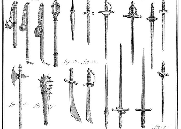 18th Century Greeting Card featuring the photograph French Chivalric Weapons by Granger