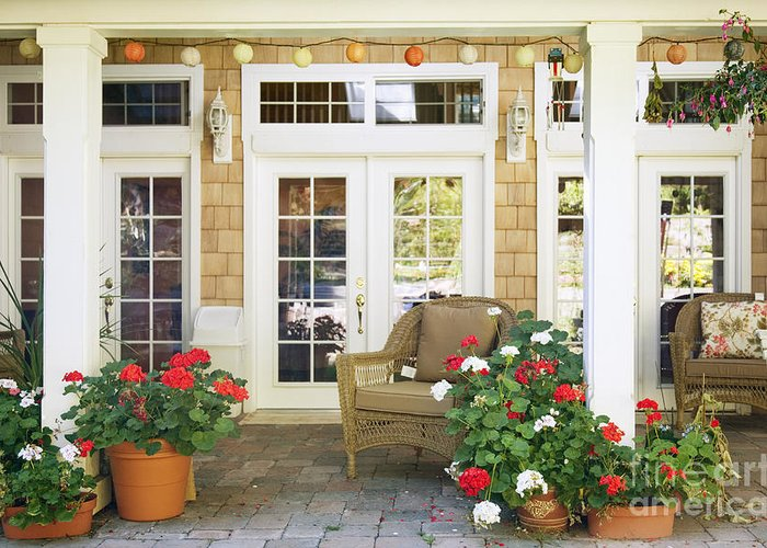 Americana Greeting Card featuring the photograph French Doors And Patio by Andersen Ross