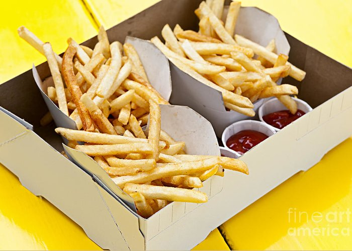 Fries Greeting Card featuring the photograph French Fries In Box by Elena Elisseeva