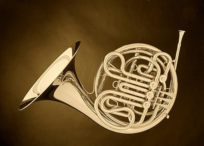 French Horn Greeting Card featuring the photograph French Horn In Antique Sepia by M K Miller