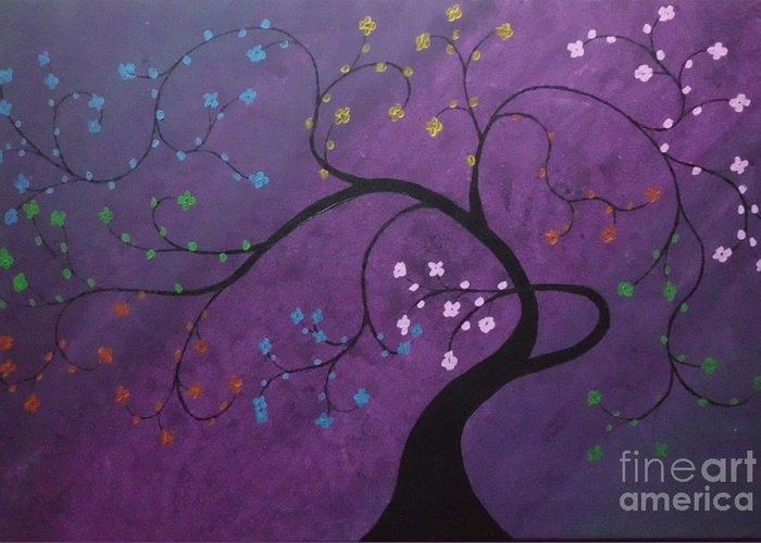 Tree Greeting Card featuring the painting Fresh Blooms by Dawn Plyler