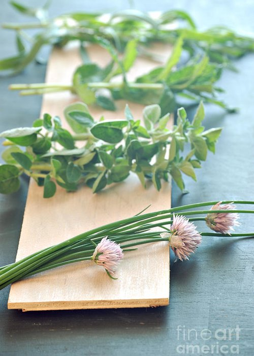 Green Chives Greeting Cards