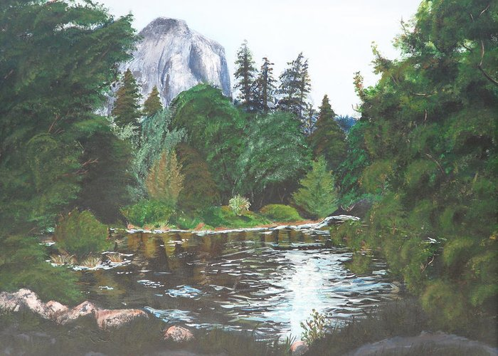 Yosemite Greeting Card featuring the painting Frog's Eye View by Travis Day
