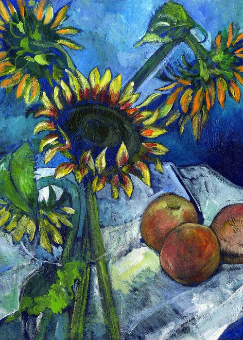 Sunflowers Greeting Card featuring the painting From The Farmer's Market by Carol Mangano
