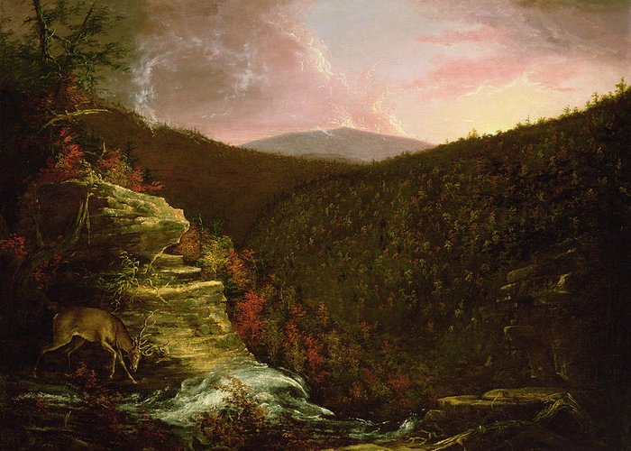 From Greeting Card featuring the painting From The Top Of Kaaterskill Falls by Thomas Cole