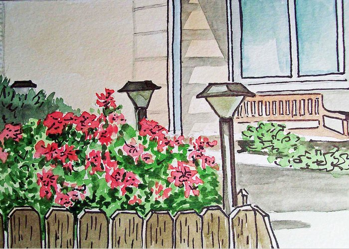 Lights Greeting Card featuring the painting Front Yard Lights Sketchbook Project Down My Street by Irina Sztukowski