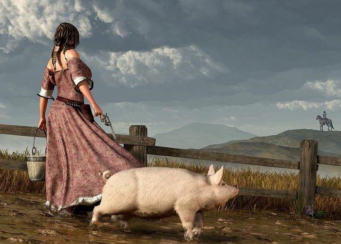 Pig Greeting Card featuring the digital art Frontier Widow by Daniel Eskridge