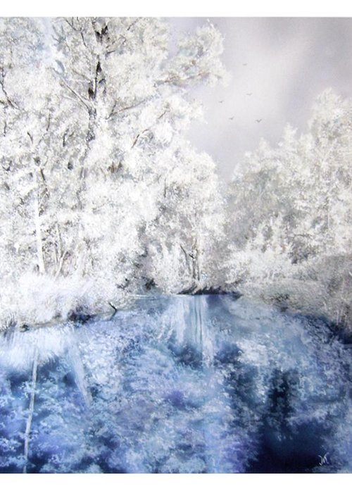 Airbrush-watercolor Greeting Card featuring the painting Frozen Beauty by Maria Varga-Hansen