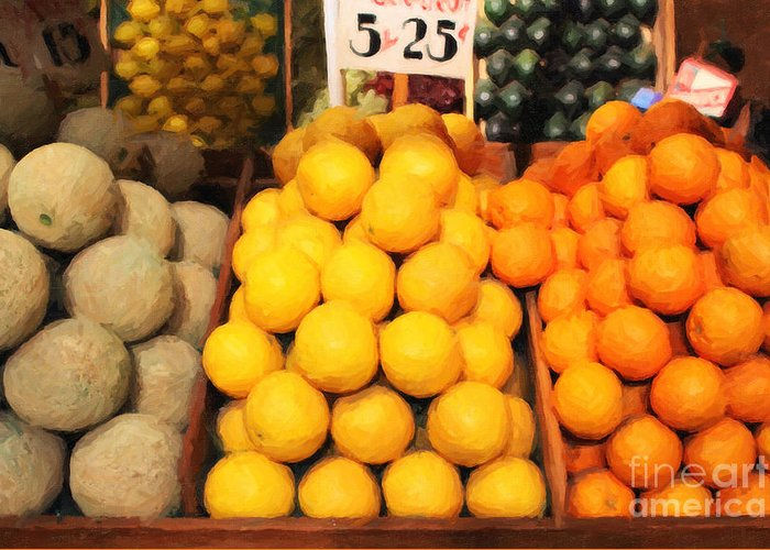 Orange Greeting Card featuring the photograph Fruit Market - Painterly - 7d17401 by Wingsdomain Art and Photography
