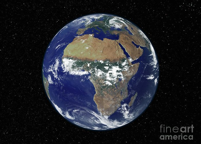 Color Image Greeting Card featuring the photograph Full Earth Showing Africa And Europe by Stocktrek Images