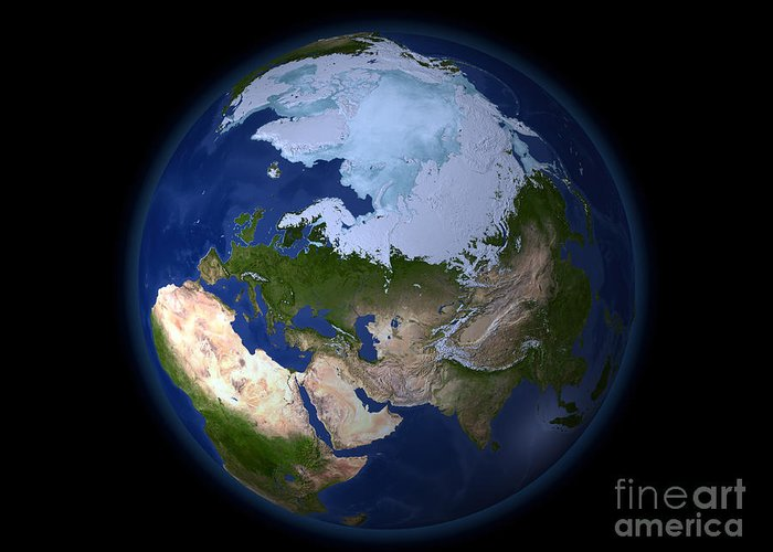 Africa Greeting Card featuring the photograph Full Earth Showing The Arctic Region by Stocktrek Images