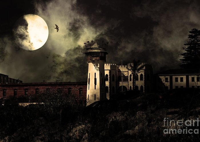 San Francisco Greeting Card featuring the photograph Full Moon Over Hard Time - San Quentin California State Prison - 7d18546 - Partial Sepia by Wingsdomain Art and Photography