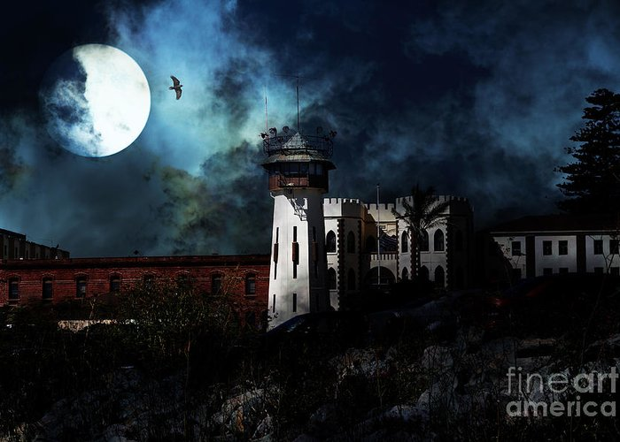San Francisco Greeting Card featuring the photograph Full Moon Over Hard Time - San Quentin California State Prison - 7d18546 by Wingsdomain Art and Photography
