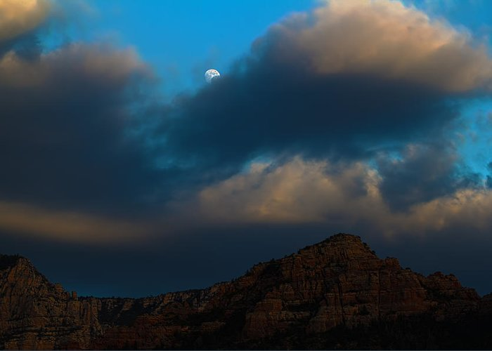 Moon Greeting Card featuring the photograph Full Moon Over Sedona by Andreas Hohl